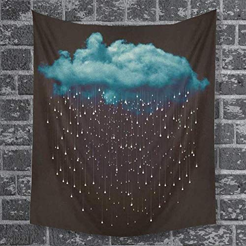 DPZDW Wall Tapestry Bedroom Living Room Accessories Square Beach Towel Landscape Digital Printing Tapestry Dark Clouds Drizzle Tapestry Home Decorations For Living Room Bedroom 230X180Cm