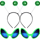 2 Pairs Alien Glasses Green Plastic Alien Sunglasses and 2 Pieces Martian Antenna Headband Boppers Green Ball Headband Boppers for Fancy Dress Party Halloween Decoration