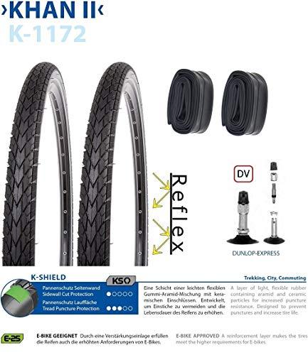 P4B 2X 45-622 (28 x 1.75), Komplettes Reifen-Set Pannenschutz + Reflexstreifen Schläuche 28 Zoll | DV 40mm | formgeheizt