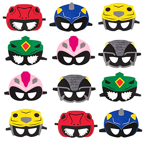 Haooryx 12Pcs Power Hero Theme Party Masks, Dress Up Costumes Party Decor Supplies US Rangers Ninja Steel Halloween Pretend Play Accessories Photo Booth Prop for Baby Shower Kids Birthday Favors