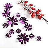 12 unids / set nuevas pegatinas 3D espejo flor pared plata y oro púrpura fiesta boda decoración para decoración del hogar pegatina en la pared