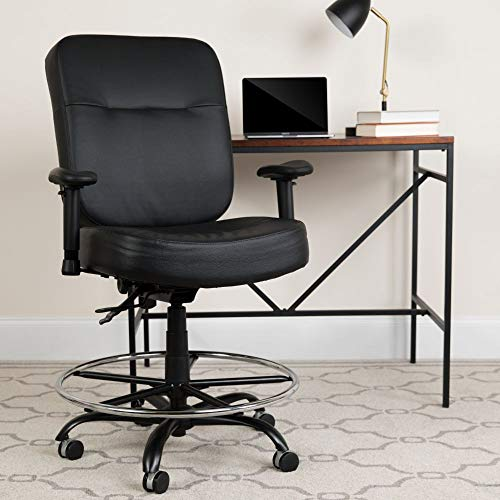 Flash Furniture HERCULES Series Big & Tall 400 lb. Rated Black LeatherSoft Ergonomic Drafting Chair with Adjustable Arms