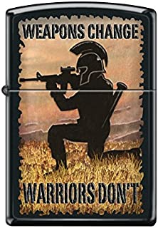 Zippo Custom Lighter Design Men in Medieval Knight Helmet with Weapons Change, Wariors Don't Inscribed Windproof Collectible - Cool Cigarette Lighter Case Made in USA Limited Edition & Rare