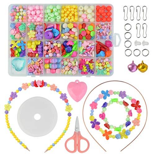 510 Stück Perlen zum Auffädeln Kinder Schmuck Schnurset, DIY Freundschaftsarmbänder Halsketten Kunsthandwerks-Set für Mädchen Kinder
