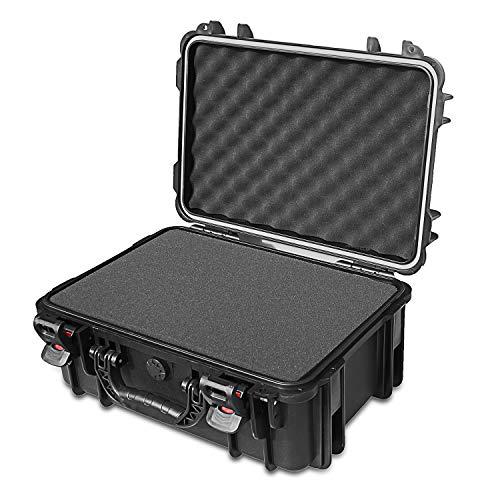 AxiGear Waterproof Hard Case with DIY Customizable Foam Insert 19 x 14 x 8in (Black)