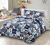 AZORE LINEN Red White and Blue Marine and Nautical Life Striped Patchwork Bedspread Bedding Coverlet Quilt Set - My Anchor (Full / Queen)