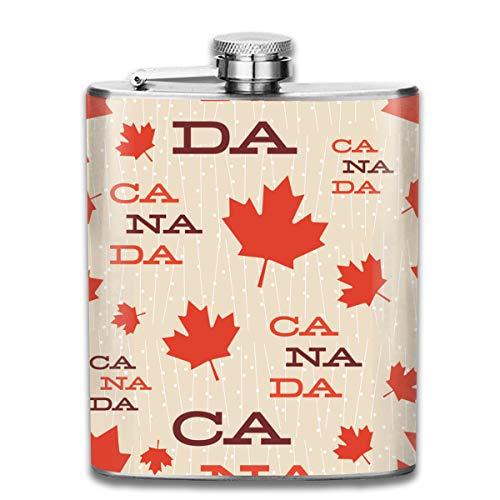 Cute Bi Mitte Jahrhundert Kanada Retro Vintage Fünfziger Jahre Gestylt Vektor Muster Mode Tragbare Edelstahl Auslaufsicher Wein 7 Unzen Flasche Reisen Camping Flagon