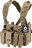 Loaded Gear Chest Rig Vest Law Enforcement Vest Breathable Combat Training Vest Adjustable Lightweight (Tan)