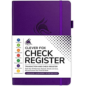 Clever Fox Check Register – Deluxe Checkbook Log with Check & Transaction Registers Bank Account Register Booklets for Personal and Work Use A5 Hardcover - Purple