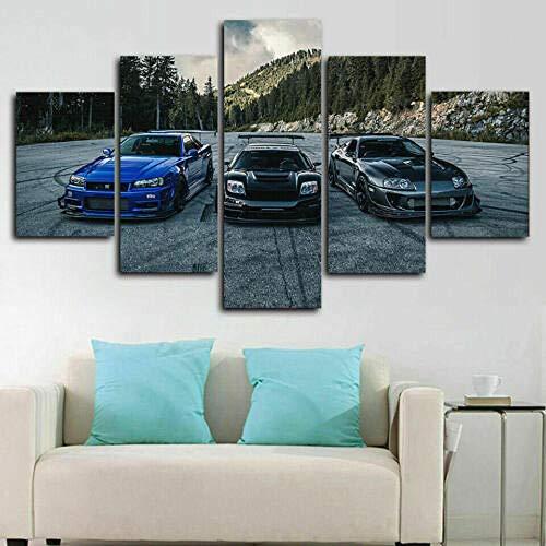 yuanjun Pegatinas De Pared 5 Unidades Lienzo Pintura Lienzo Cuadro Pintura Habitación Decoración Impresión Cartel Arte De La Pared Coche NSX Vs Skyline R34 Vs Supra