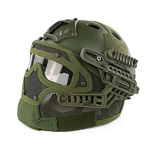 AMAZOM Taktischer Schutzhelm, Paintball Tactical Protective Fast Helmet, ABS Taktische Maske Mit Brille Für Paintball Wargame,D