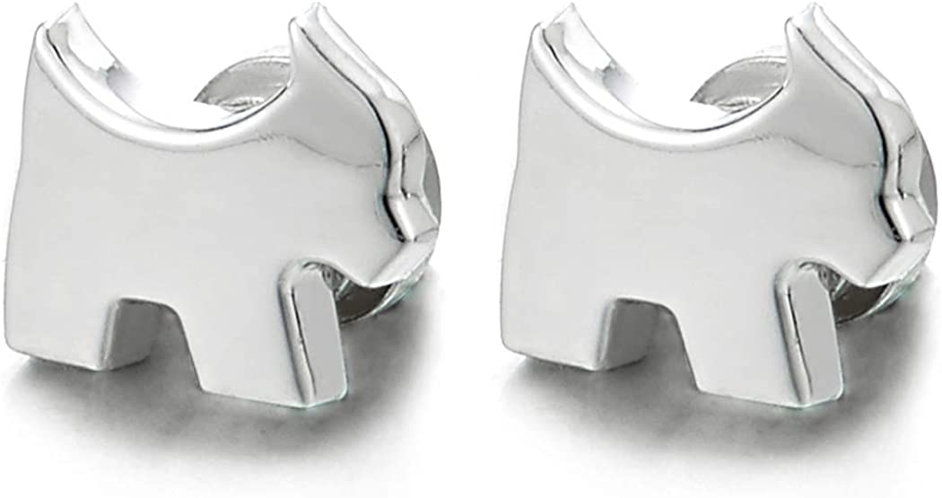 Small Magnetic Puppy Dog Stud Earrings, Non-Piercing Clip On Cheater Ear Gauges, Polished
