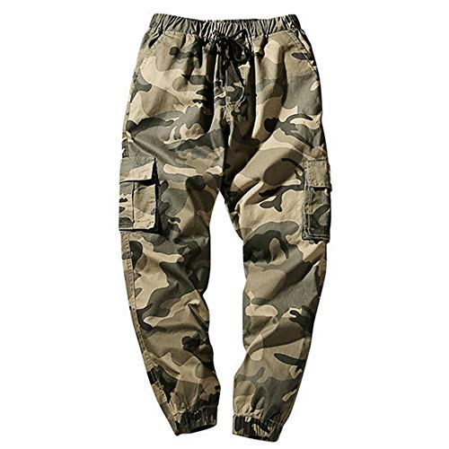 N\P Pantalones tipo harén para hombre de otoño, pantalones de camuflaje para hombre, sueltos y cómodos