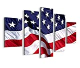 islandburner Bild Bilder auf Leinwand USA Amerika Flagge MF Stars and Stripes XXL Poster Leinwandbild Wandbild Dekoartikel Wohnzimmer Marke islandburner