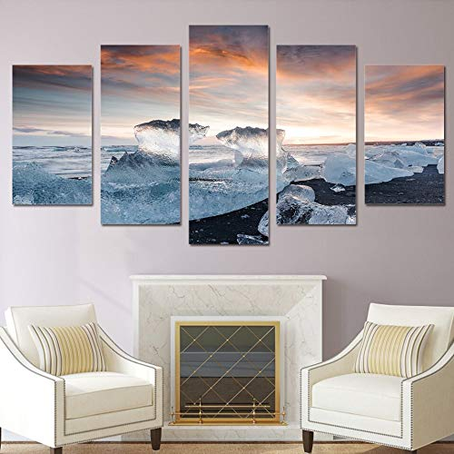 Gbwzz 5 stuks schilderijen op canvas muurkunst fotolijst Home Decor Room Poster 5 stuks Frozen Seascape Ice Cube Zonsopgang Landschap HD D Schilderen Frame 20x35 20x45 20x55cm