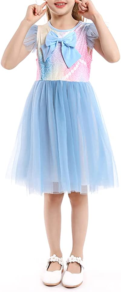 Toddler Girls Casual Dress Summer Ruffled Sleeveless Bow Tutu Dresses