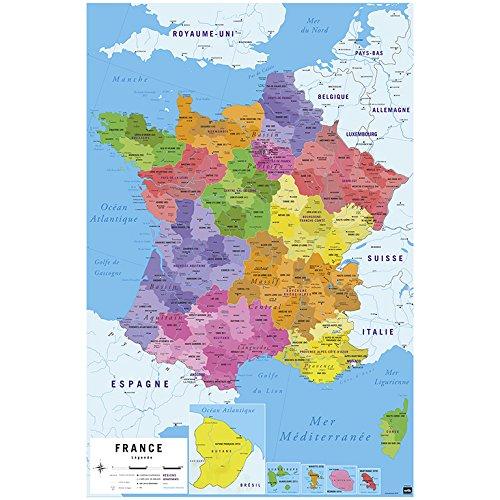Erik Poster kaart Frankrijk 2017, glacé - 91 x 61 cm