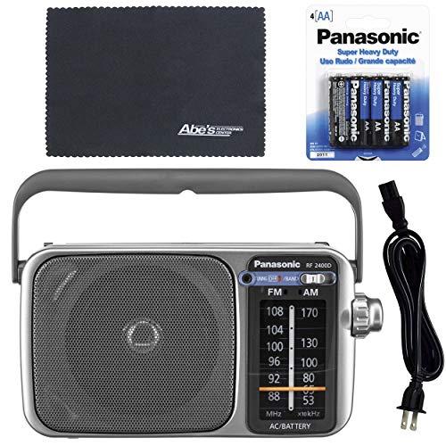 Panasonic RF-2400D / RF-2400 Portable FM/AM Radio with AFC Tuner + 4 X Panasonic AA Batteries + AOM Starter Bundle