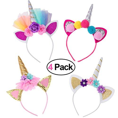 Frcolor Haarreif Einhorn Stirnband mit Unicorn Horn Haarschmuck mit Ohren für Ostern Geburtstag...