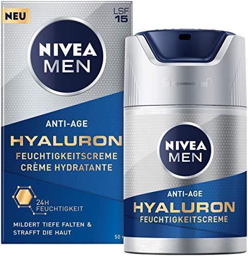 Nivea Men Anti-Age Hyaluron Feuchtigkeitscreme (50 ml), Gesichtscreme mit LSF 15 mildert selbst tiefe Falten, schnell einziehende Gesichtspflege mit Hyaluron