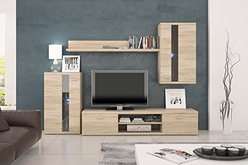 Wohnwand LIFE, Anbauwand, Wohnzimmer Möbel, mit LED Beleuchtung - 2