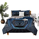 dsdsgog Three-Piece Bedding Cotton Sheets Queen Bed Sheet Robots and Androids More Comfortable W78 xL78 Zippered Quilt Cover and 2 Envelope Pillowcases