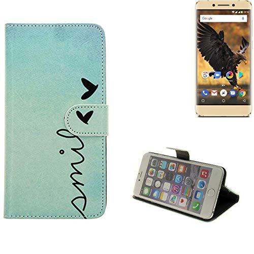 K-S-Trade® Schutzhülle Für Allview P8 Pro Hülle Wallet Case Flip Cover Tasche Bookstyle Etui Handyhülle ''Smile'' Türkis Standfunktion Kameraschutz (1Stk)