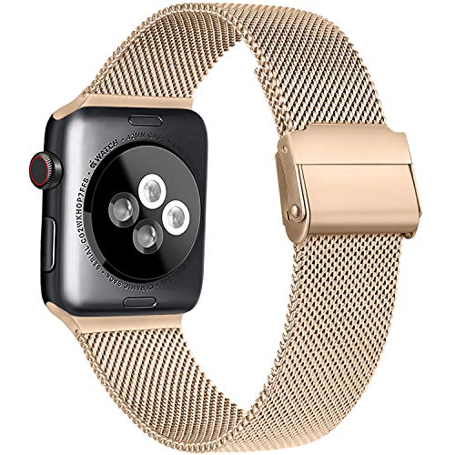 Meliya Compatible with Apple Watch Band 44mm 42mm 40mm 38mm, Stainless Steel Mesh Sport Wristband Compatible for iWatch Series SE 6 5 4 3 2 1 (38mm/40mm, Rose Gold)