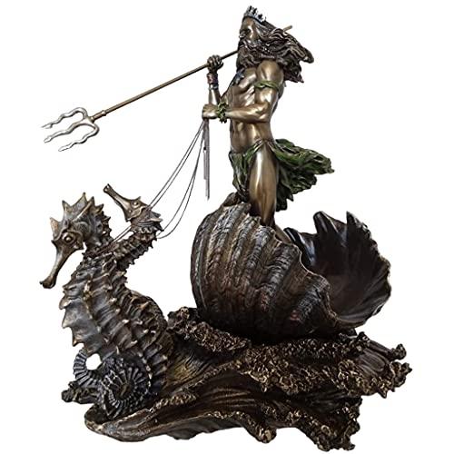 homozy Bronze Estátua do Grego do Mar Poseidon com com Tridente em Seahorse Estatueta Decoração de Casa Arte Ornamento Presente de Inauguração