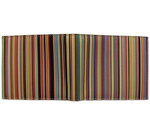 Paul Smith - Portafoglio da uomo a righe in pelle, multicolore multicolore Taglia unica