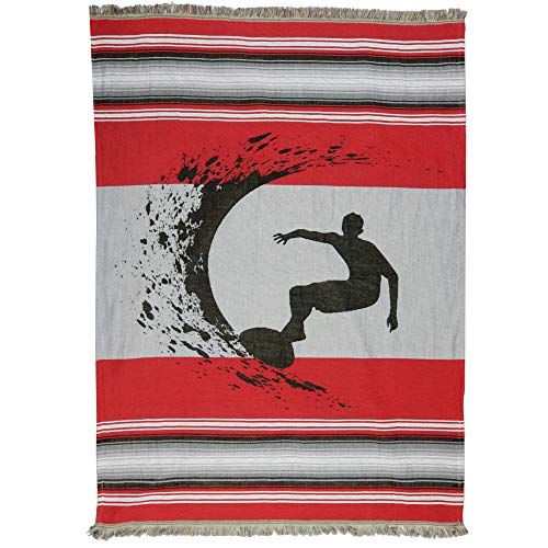 Dean Miller Surf Bedding Surfing Mexican Themed Blanket - Woven Indoor/Outdoor Blanket