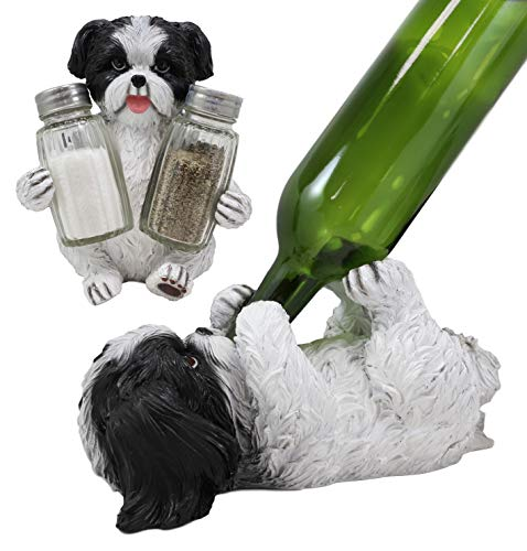 Ebros Gift Realistic Adorable Pooch Shih Tzu Mini Toy Breed Dog Decorative Glass Salt Pepper Shakers And Wine Bottle Holder Figurine Set Pet Pal Dogs Kitchen Helper Organizer Accent Statues