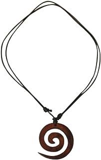 Chic-Net-ordito legno catena nera in cotone con una spirale marrone ciondolo in legno Sonoholz- handgeschnitzt- diametro d...