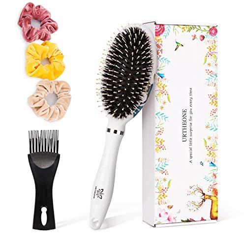 Hair Brush Boar Bristle Oval Paddle Hairbrush for Women Men Kids with Wet Dry Thick Thin Curly Long Short Hair, Detangling Brush for Straightening & Smoothing Hair