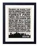Boston Landmarks Skyline and Typography Dictionary Art Print 8x10