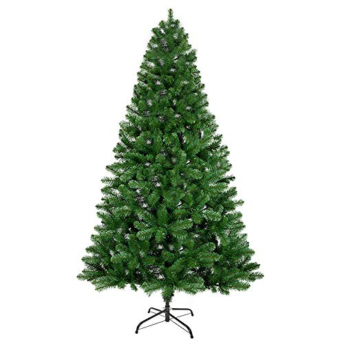 ANSIO Christmas Tree Xmas Tree 7ft/2.1M Artificial Christmas Tree with 800 Virgin Fire Retardant PVC Tips and Metal Stand