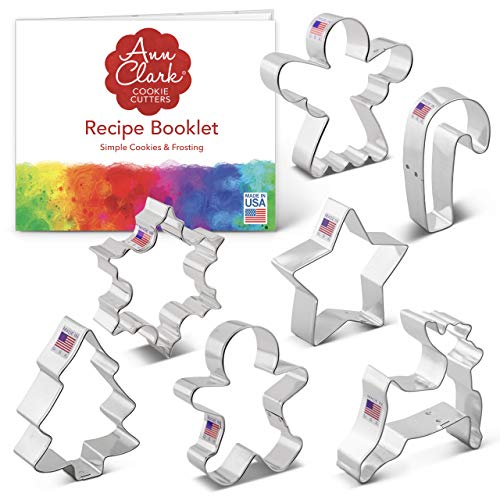 Ann Clark Cookie Cutters 7-Piece Christmas Cookie Cutter Set with Recipe Booklet, Snowflake, Star, Christmas Tree, Gingerbread Man, Angel, Leaping Reindeer and Candy Cane