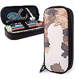 Yuanmeiju Pet Cat Multifunction Canvas Leather Estuche Pen Bag Makeup Pouch,4X9X20 cm