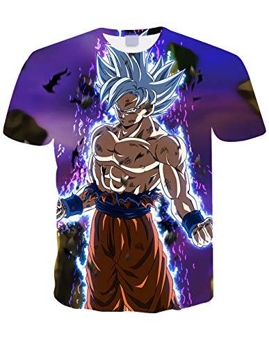 Maglietta Uomo Bambino Maniche Corte Dragon Ball Maglia con Stampa 3D Estate Tees Camicetta Tops Casuale T-Shirt Elegante Blusa Camicia Maglietta da Ragazzo (TXU-149, XXS)
