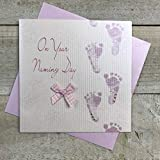 Cotone Bianco Carte Rosa Footprints On Your Naming Day Handmade Naming Day Card, Bianco