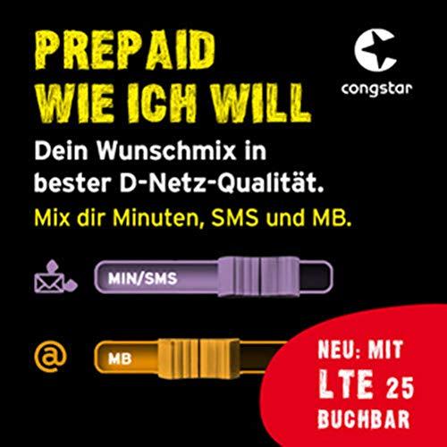 congstar Prepaid wie ich will [SIM, Micro-SIM und Nano-SIM] - Dein Wunschmix in guter D-Netz Qualität inkl. 10 EUR Startguthaben. Mix dir Allnet-Minuten, SMS und MB so wie Sie es monatlich brauchen