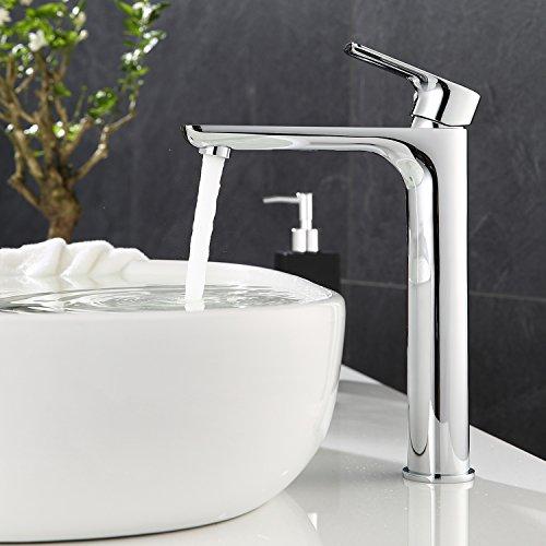 ubeegol Messing Chrom Wasserhahn Hoch Bad Waschtischarmatur Hoher Auslauf Einhebelmischer Mischbatterie Waschbeckenarmatur für Badzimmer
