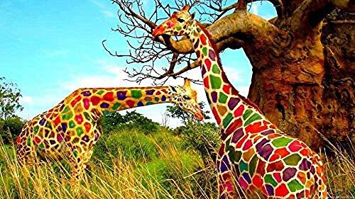 Casual moeilijkheidsgraad,geen merk puzzel 1000 stuks kleurrijke giraffe houten puzzel speelgoed voor kinderen volwassenen creatieve diy woondecoratie 1000 stuks puzzel-75x50cm