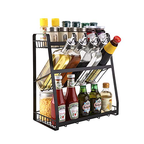 Homease - Especiero de 3 pisos para cocina, almacenamiento de diferentes tamaños de especias, para encimeras y armarios, alta capacidad y gran capacidad de carga