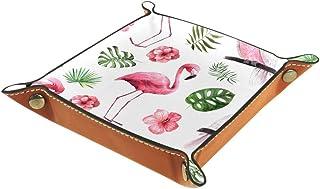 Acuarela Tropical exóticas flores rosadas de cuero organizador de almacenamiento junto a la cama mesa de noche aparador de...