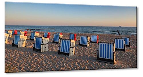 Fine-Art-Manufaktur Ostsee Strand Warnemünde Strandkorb Urlaub Sonnenaufgang Meer Blau | Aus der Serie: Die Ostsee | Farbe: blau | Rubrik: Meer-und-Strand + landschaften