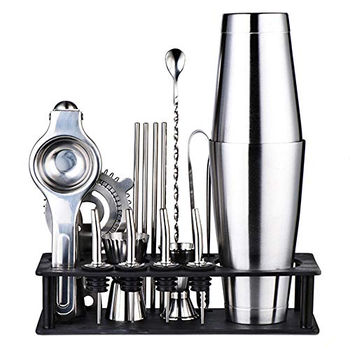 Yinaa Boston Cocktail Set Resistente Alla Corrosione e Facile Da Pulire Set di Cocktail Professional Acciaio Iinox Coppa Silver Hall+Mensola Nera