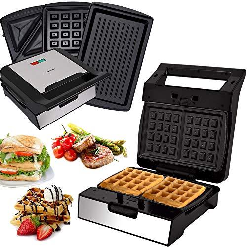 Syntrox Germany 3 in 1 Edelstahl Maker MM-1400W Multimaker Sandwichmaker + Waffeleisen + Kontaktgrill mit 3 Wechselplatten