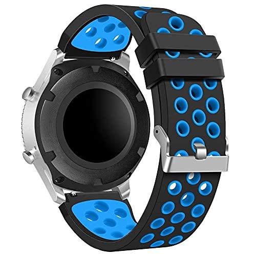 Correa de reloj S3 de 22 mm, de silicona suave, compatible con Samsung Gear S3 Classic/Frontier/Galaxy Watch 2018 (46 mm), hebilla de acero inoxidable plateada,