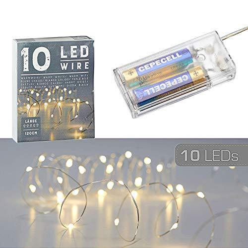 10 LED Mikro Draht Lichterkette warmweiß silber Batterie Deko Beleuchtung Weihnachten (1 x 10 LED Mikro-Draht Lichterkette)